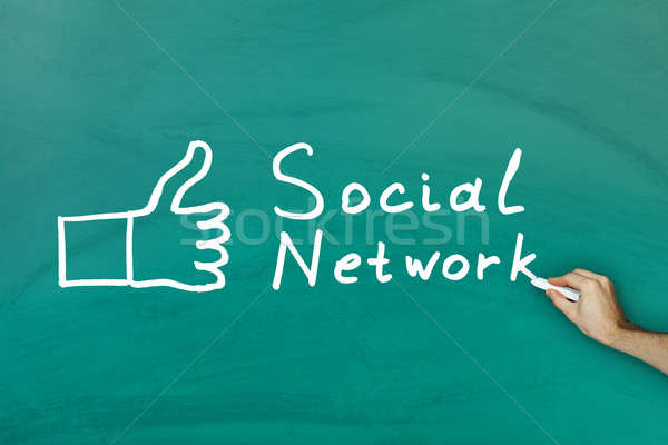 Social network concept on blackboard Stock photo © AndreyPopov