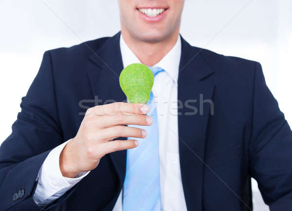 Businessman Holding Light Bulb With Green Grass Stock photo © AndreyPopov