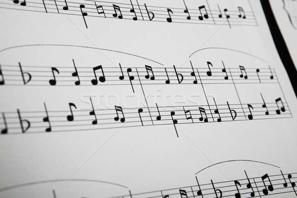 Primer plano notas musicales música papel diseno fondo Foto stock © AndreyPopov