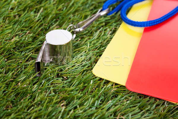 Whistle With Red And Yellow Card On The Field Stock photo © AndreyPopov