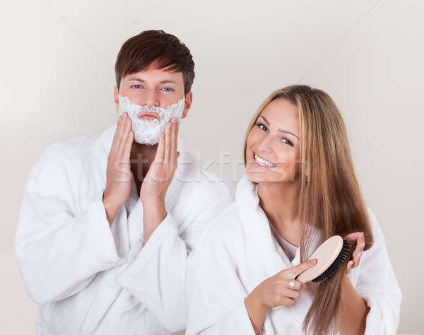 Shaving cream applied on face Stock photo © AndreyPopov