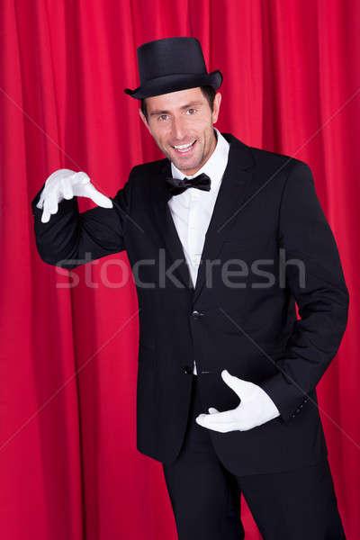 Stockfoto: Goochelaar · zwart · pak · lege · top · hoed