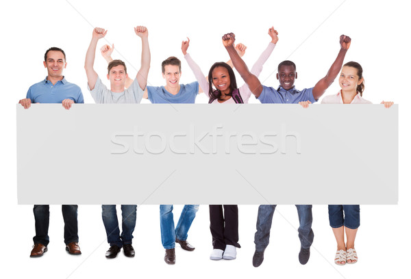 Diverse Fashion Models And Student Holding Blank Placard Stock photo © AndreyPopov