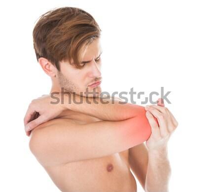Photo stock: Homme · souffrance · coude · douleur · torse · nu · jeune · homme