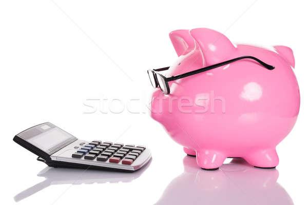 Mirando calculadora aislado blanco gafas Foto stock © AndreyPopov