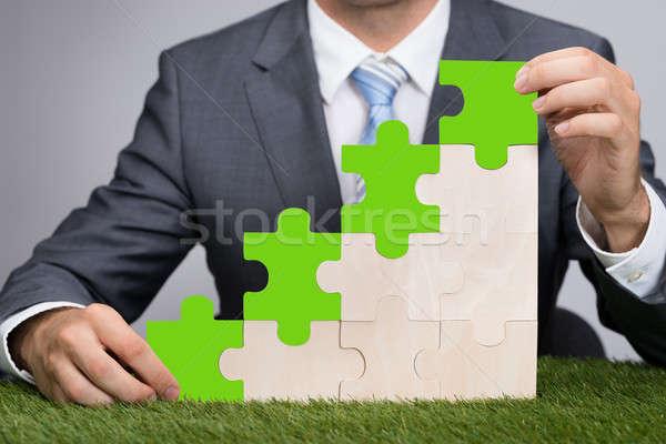 Businessman Holding Jigsaw Graph On Grass Stock photo © AndreyPopov