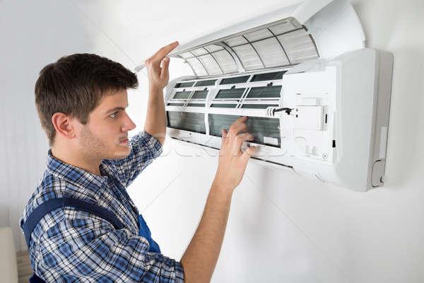 技術者 空調装置 写真 小さな 男性 ストックフォト © AndreyPopov