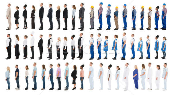 Collage Of People Standing In Line Stock photo © AndreyPopov