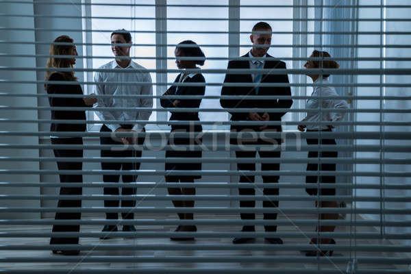 Stock fotó: üzletemberek · beszél · egyéb · mögött · vak · csoport