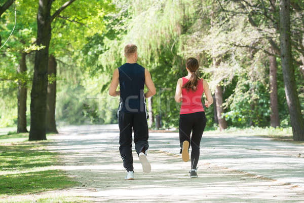 Young Couple Jogging In Park Stock photo © AndreyPopov