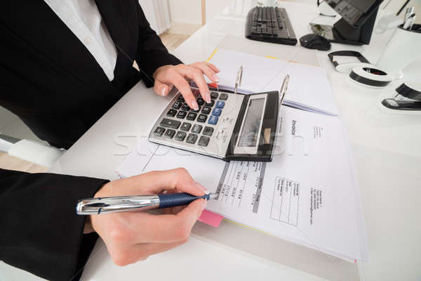 Ragioniere dati desk femminile mutui business Foto d'archivio © AndreyPopov