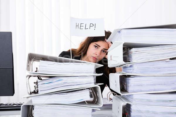 Ongelukkig zakenvrouw helpen vlag kantoor Stockfoto © AndreyPopov