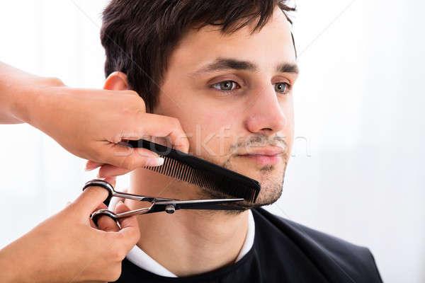 Hairdresser Shaping Man's Beard Stock photo © AndreyPopov