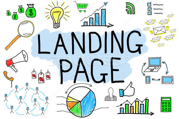 Landing Page Concept On White Background Stock photo © AndreyPopov