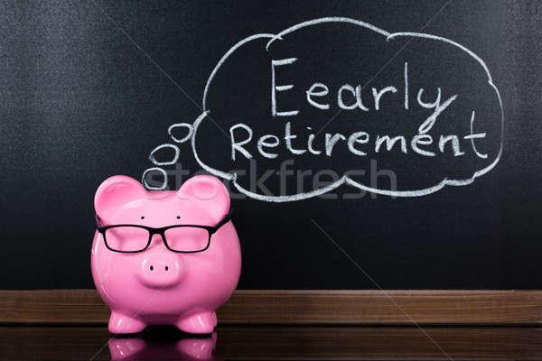 Takarékosság nyugdíj iskolatábla közelkép persely levél Stock fotó © AndreyPopov