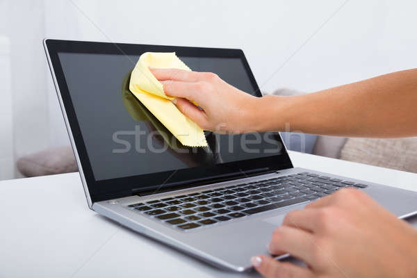 Woman Hand Cleaning Laptop Screen Stock photo © AndreyPopov