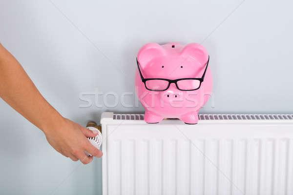 Personne thermostat tirelire main chauffage Photo stock © AndreyPopov