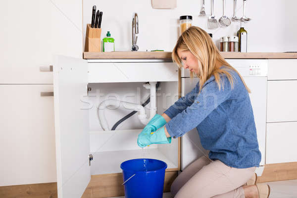 Woman Squeezing Wet Cloth In The Bucket Stock photo © AndreyPopov