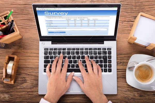 деловая женщина обзор ноутбука мнение бизнеса рук Сток-фото © AndreyPopov