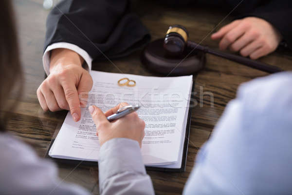 Female Signing Contract Stock photo © AndreyPopov