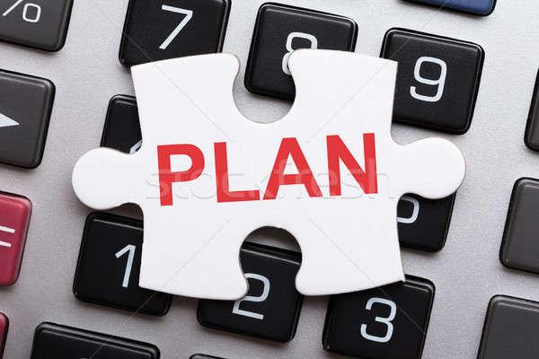 Stockfoto: Stuk · plan · tekst · calculator · rechtstreeks
