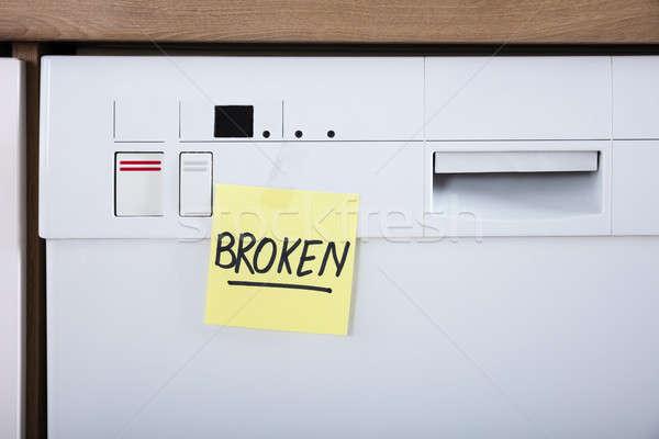 Bulaşık makinesi yapışkan notlar kırık Stok fotoğraf © AndreyPopov