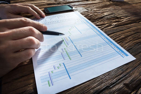 Businessperson's Hand Analyzing Gantt Chart Stock photo © AndreyPopov