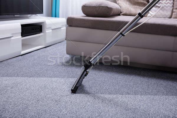 Porszívó szőnyeg közelkép szürke munka otthon Stock fotó © AndreyPopov