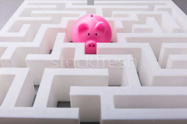 Pink Piggybank In The Centre Of Maze Stock photo © AndreyPopov