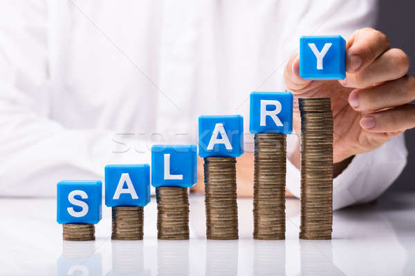 Person Making Salary Word On Stacked Coins Stock photo © AndreyPopov