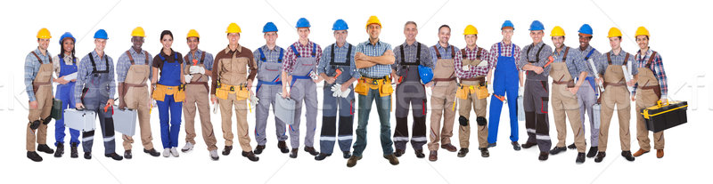 Confident Manual Workers Against White Background Stock photo © AndreyPopov
