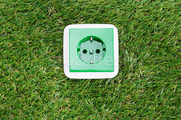 Groene energie muur stopcontact gras business industrie Stockfoto © AndreyPopov
