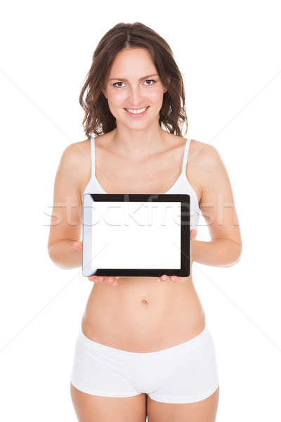 Young Woman Showing Laptop Stock photo © AndreyPopov