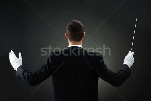 Rear View Of Music Conductor Holding Baton Stock photo © AndreyPopov