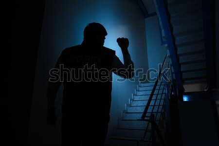 Security Guard Searching On Stairway With Flashlight Stock photo © AndreyPopov