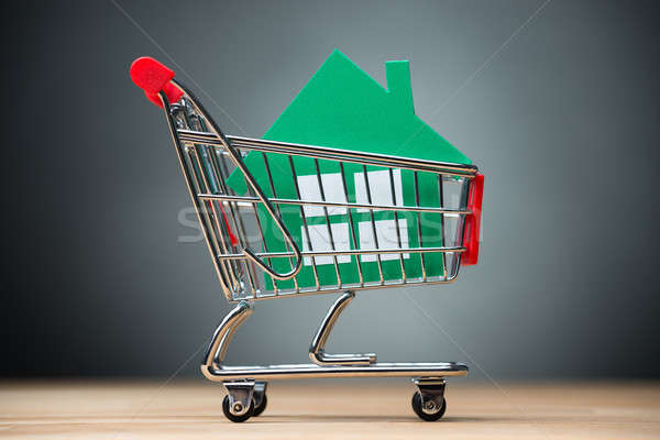 Green Paper House In Shopping Cart On Table Stock photo © AndreyPopov