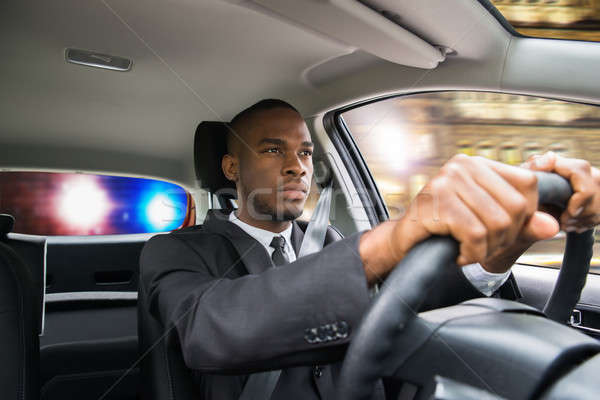 Stock fotó: üzletember · rendőrség · vezetés · autó · fiatal · afrikai