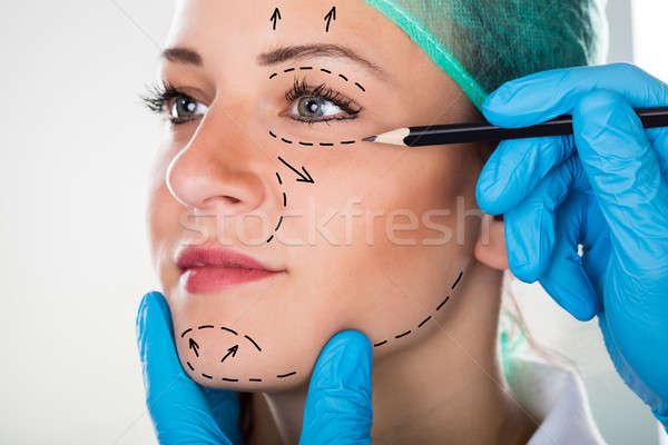 хирург рисунок линия лице пластическая хирургия Сток-фото © AndreyPopov