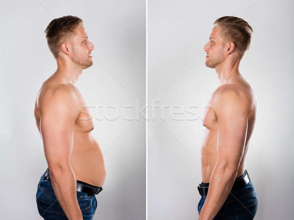 Young Man Before And After Loosing Fat Stock photo © AndreyPopov
