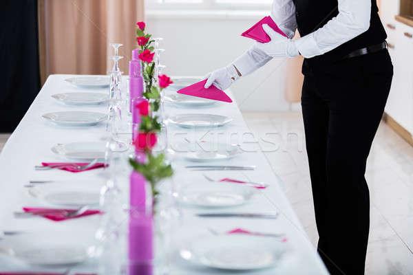 男性 ウェイター ナプキン 結婚式 表 サーバー ストックフォト © AndreyPopov