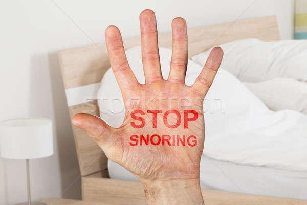 Durdurmak yazılı el yatak odası Stok fotoğraf © AndreyPopov