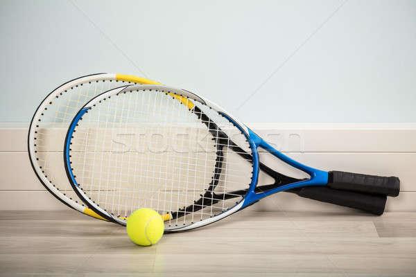 Pár labda tenisz keményfa padló sport fitnessz Stock fotó © AndreyPopov