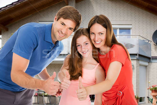 Stock fotó: Boldog · család · mutat · hüvelykujj · felfelé · felirat · portré
