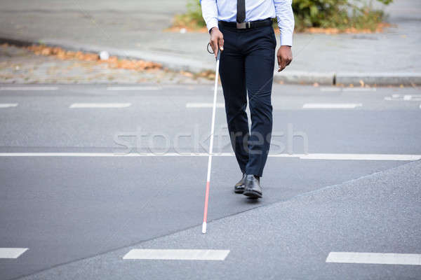 Blind Person Walking On Street Stock photo © AndreyPopov