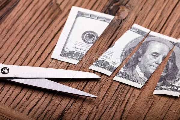 ドル 木製のテーブル ビジネス お金 表 ストックフォト © AndreyPopov