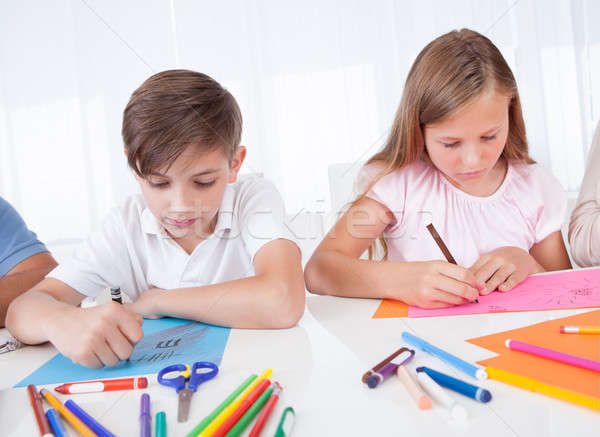 Portrait Of Girl and Boy Drawing Stock photo © AndreyPopov