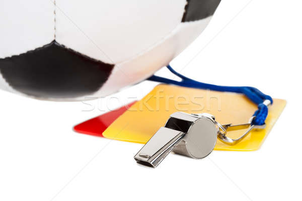 Soccer ball, whistle and cards Stock photo © AndreyPopov