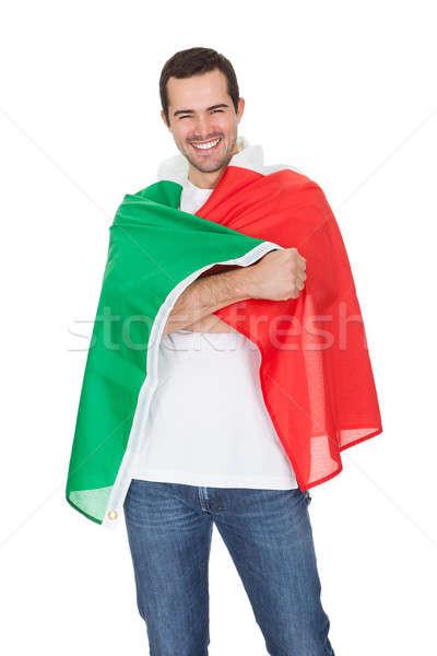 Portrait heureux homme drapeau italien isolé Photo stock © AndreyPopov
