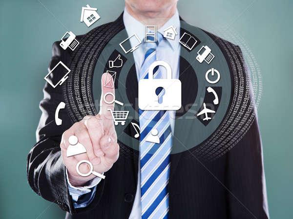 Сток-фото: бизнесмен · виртуальный · иконки · компьютер
