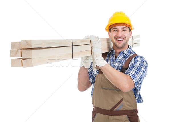 Stock fotó: Utasítás · munkás · hordoz · fából · készült · deszkák · teljes · alakos